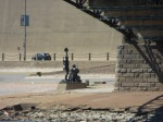 Riverside statued of Lewis & Clarke & dog frm the river