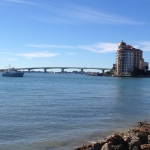 Quimby on mooring in Sarasota with John Ringling bridge in background